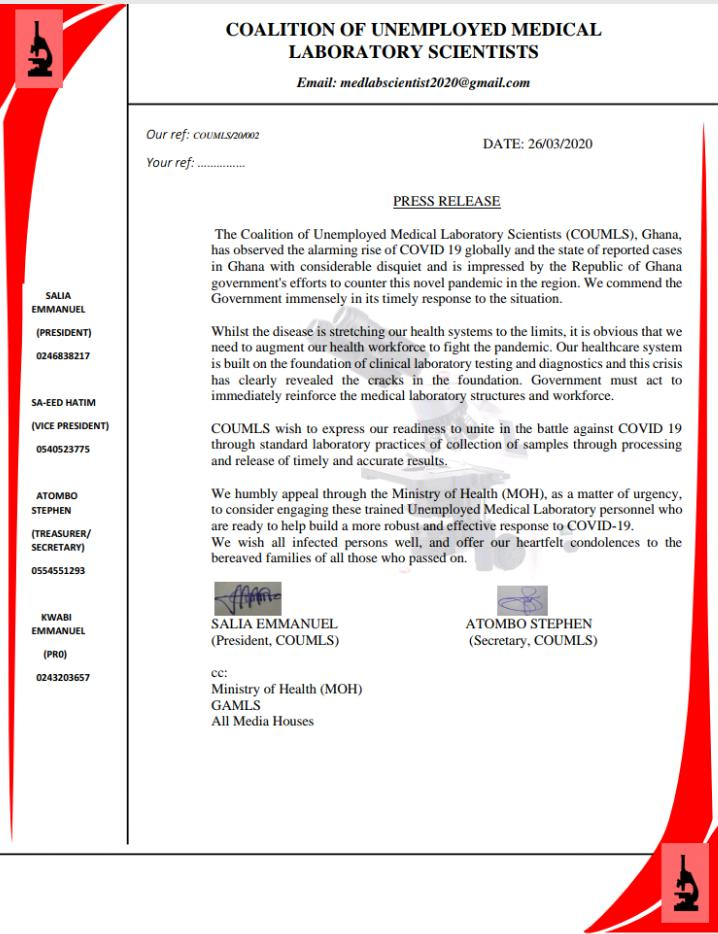 Coalition of Unemployed Medical Laboratory Scientists offer to support fight coronavirus