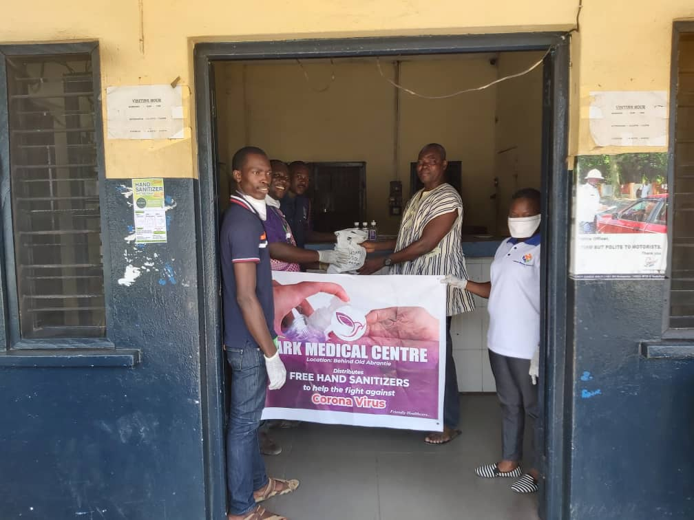 Ark Medical Centre distributes hand sanitisers to police, residents within its operational area