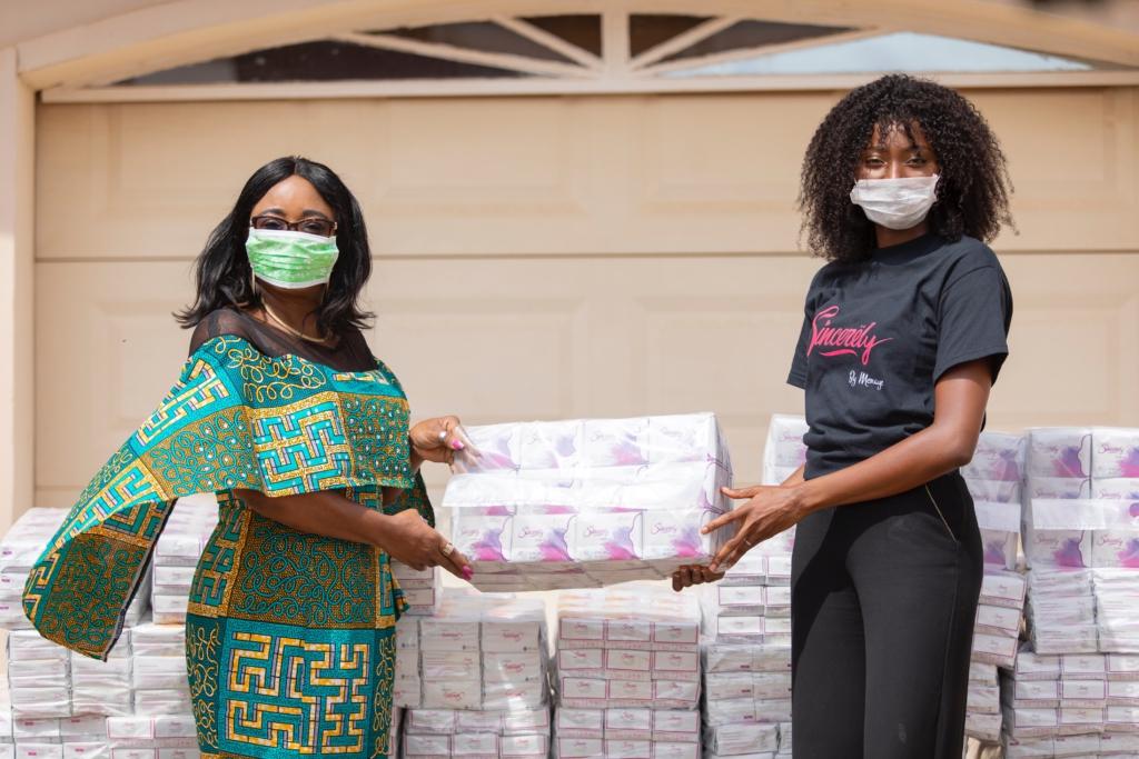Menaye Donkor's sanitary pad donation