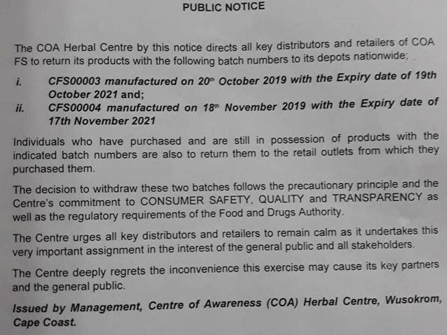 FDA orders recall of COA FS from markets