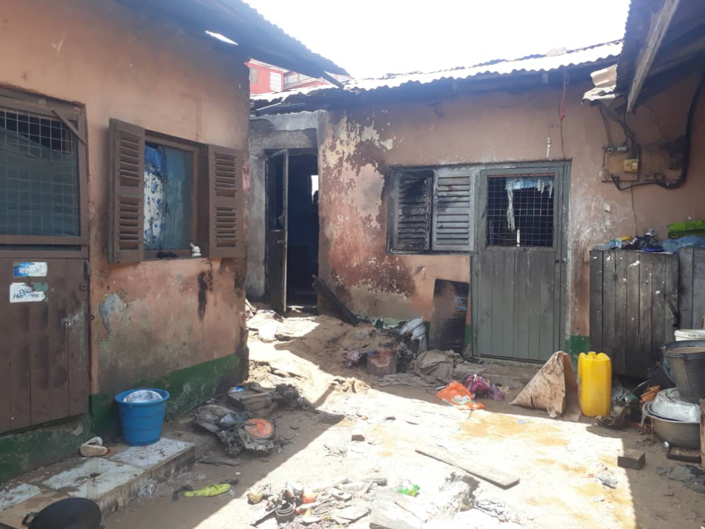 fire burns house of 30 year old woman in Sekondi
