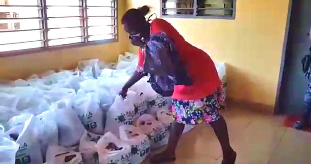 Aflao residents abroad donate food items to local residents