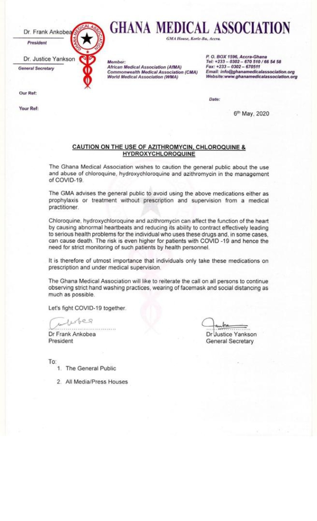 Ghana Medical Association cautions against use of Chloroquine, others in the treatment of Covid-19
