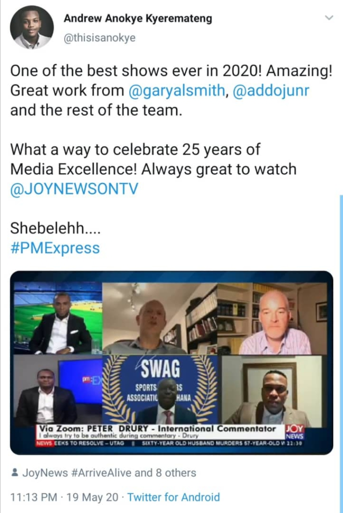 Social media declares Joy Sports 'Football After Covid-19' as 'Show of the Year'