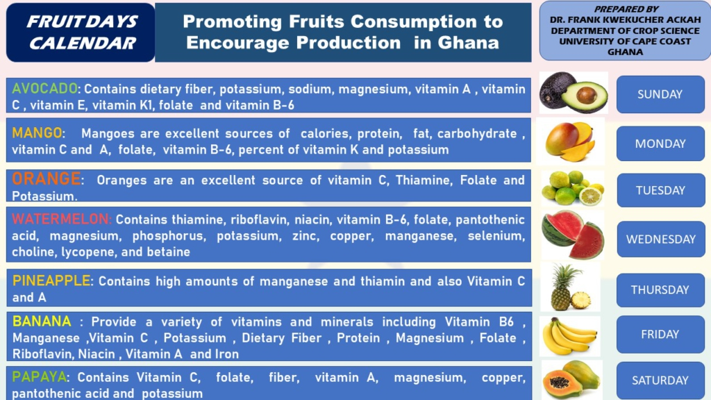 Crop scientists at UCC propose fruit day calendar for the consumption of fruits to boost immune system