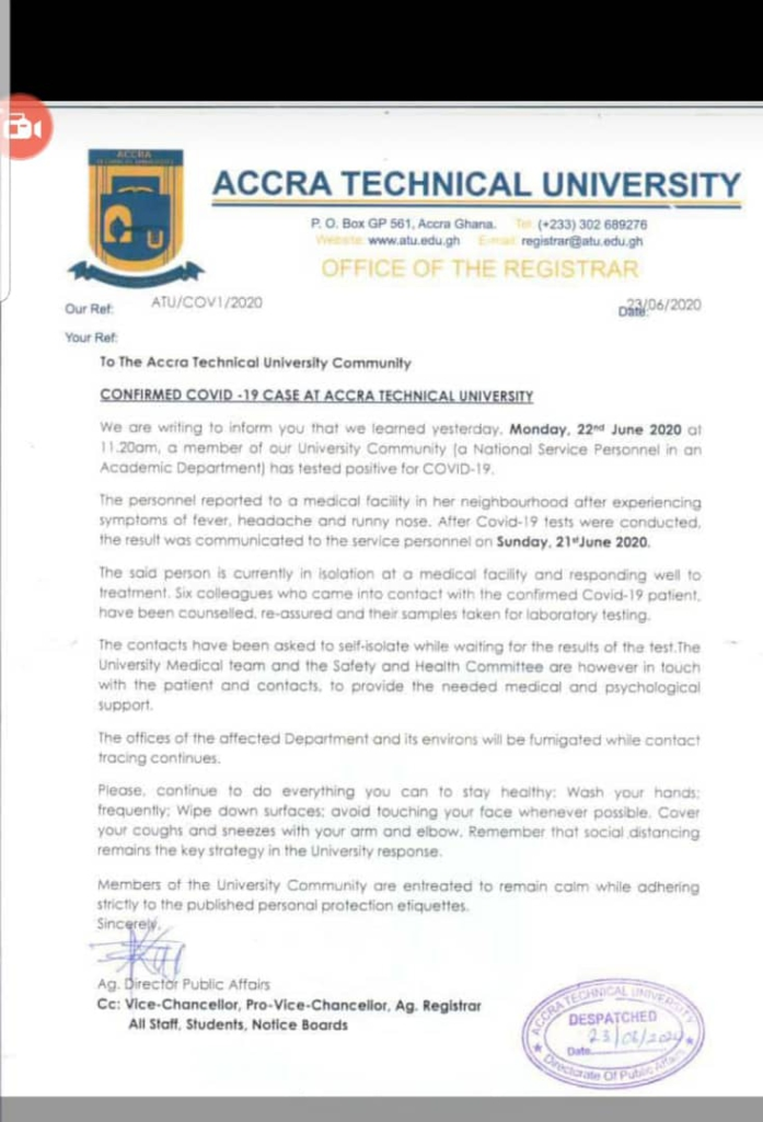 Accra Technical University records first Covid-19 case a week after reopening