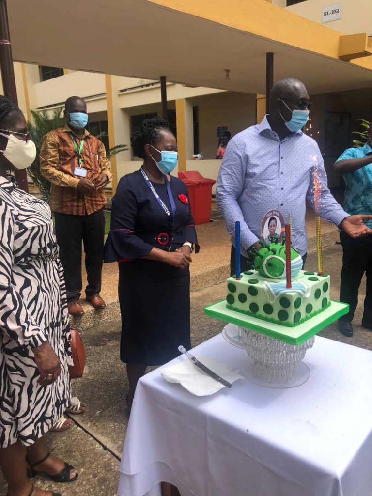Dr. Augustina Angelina Sylverken on her birthday. Ghanaian Doctor Gets Coronavirus-Designed Cake On Birthday [photos]
