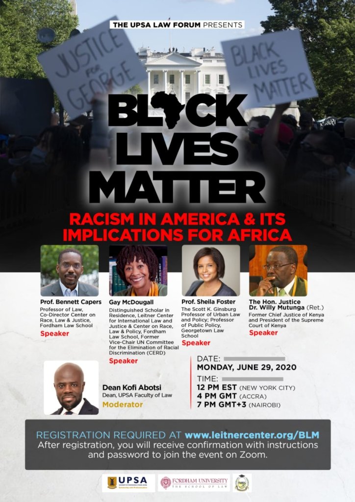 Black Lives Matter: UPSA Law School collaborates with Fordham Law School for a seminar