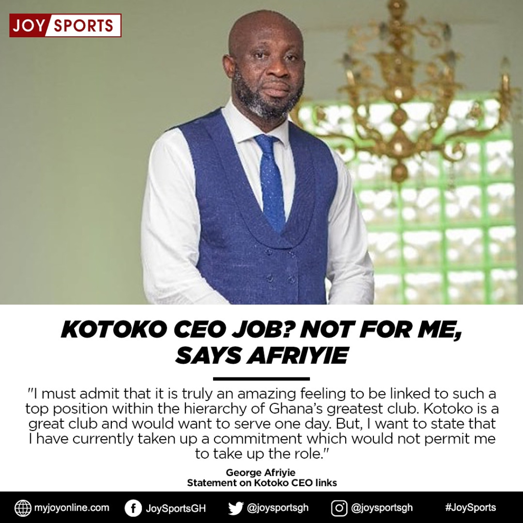 I am not ready for Kotoko CEO role- George Afriyie