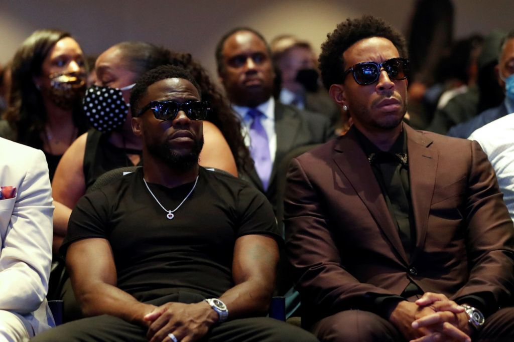 Ludacris and Kevin Hart at the George Floyd memorial