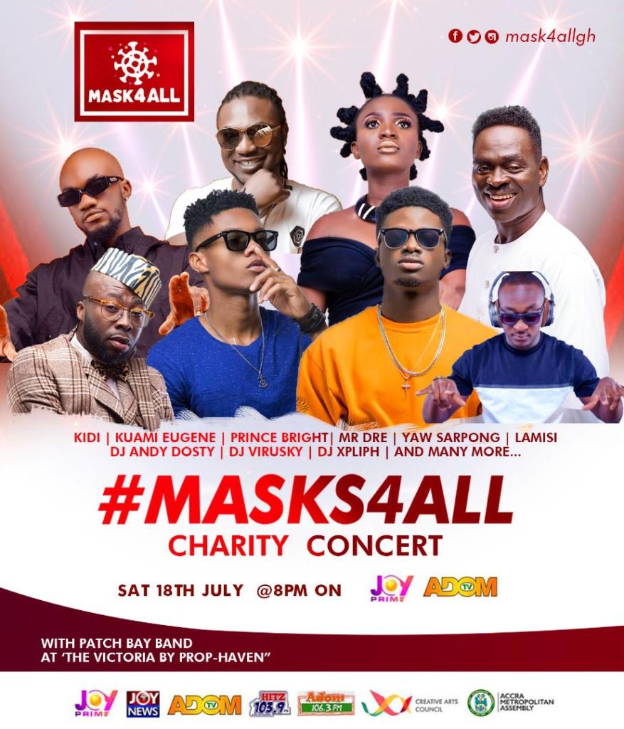 Kidi, Kuami Eugene, Mr Drew, others support #Masks4all Charity Concert