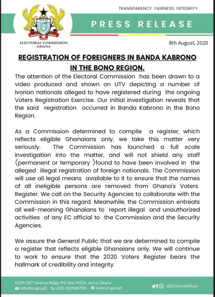 EC statement on registered Ivorians