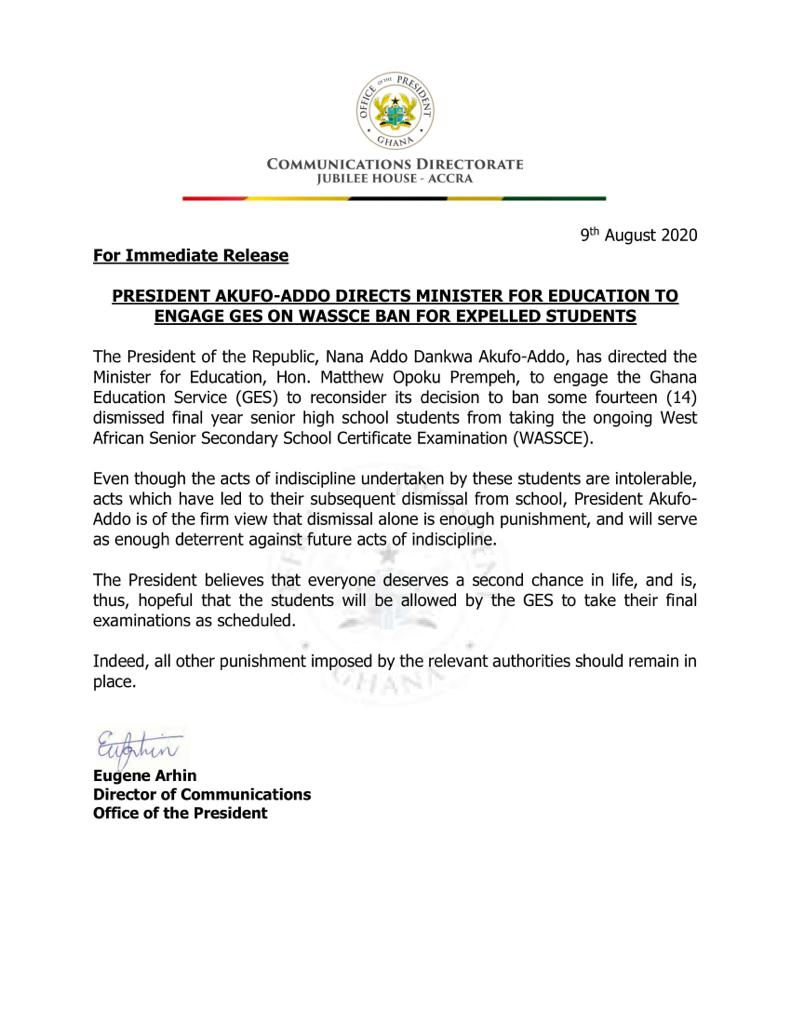WASSCE Riots: Allow 14 dismissed students to take final exams - Akufo-Addo to GES