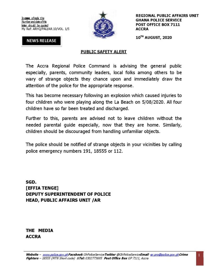 Police scan La beach after explosion injured 4 children
