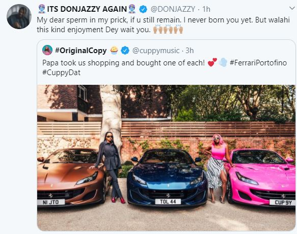 Don Jazzy reacts to Cuppy's ferrari