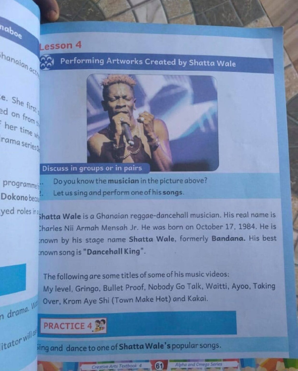 Shatta Wale in a textbook