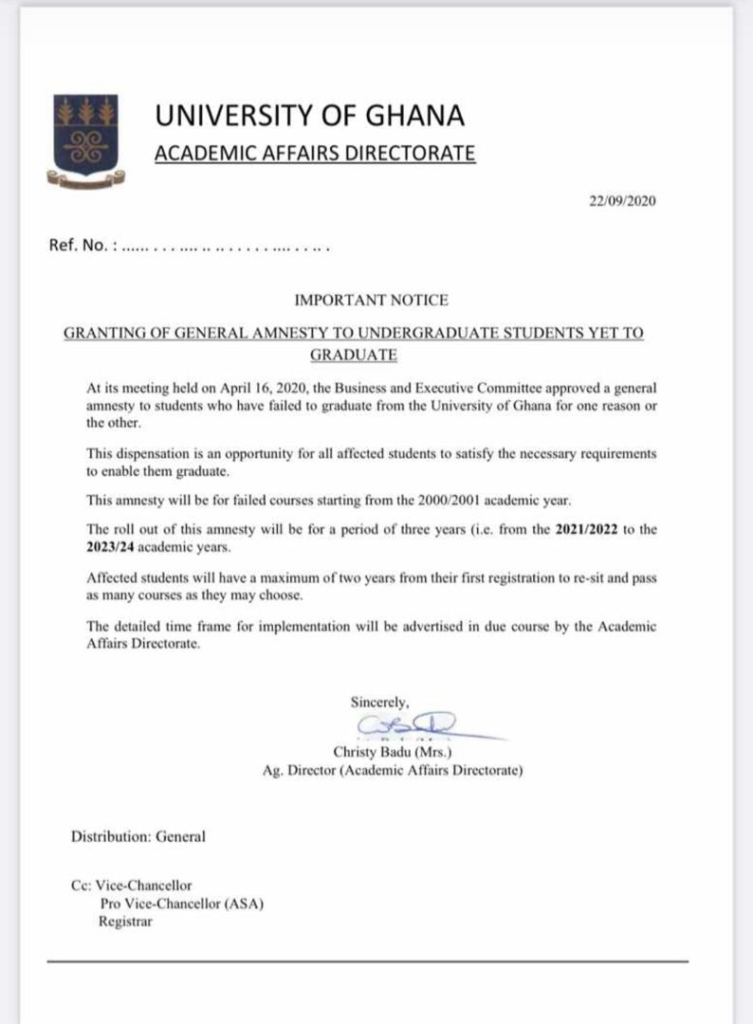 UG grants amnesty to 2000/01 undergraduate students yet to graduate over failed courses