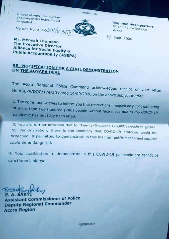 If you allowed 'Akyem Sakawa Mafia' protest, why not Agyapa deal - ASEPA accuses police of discrimination