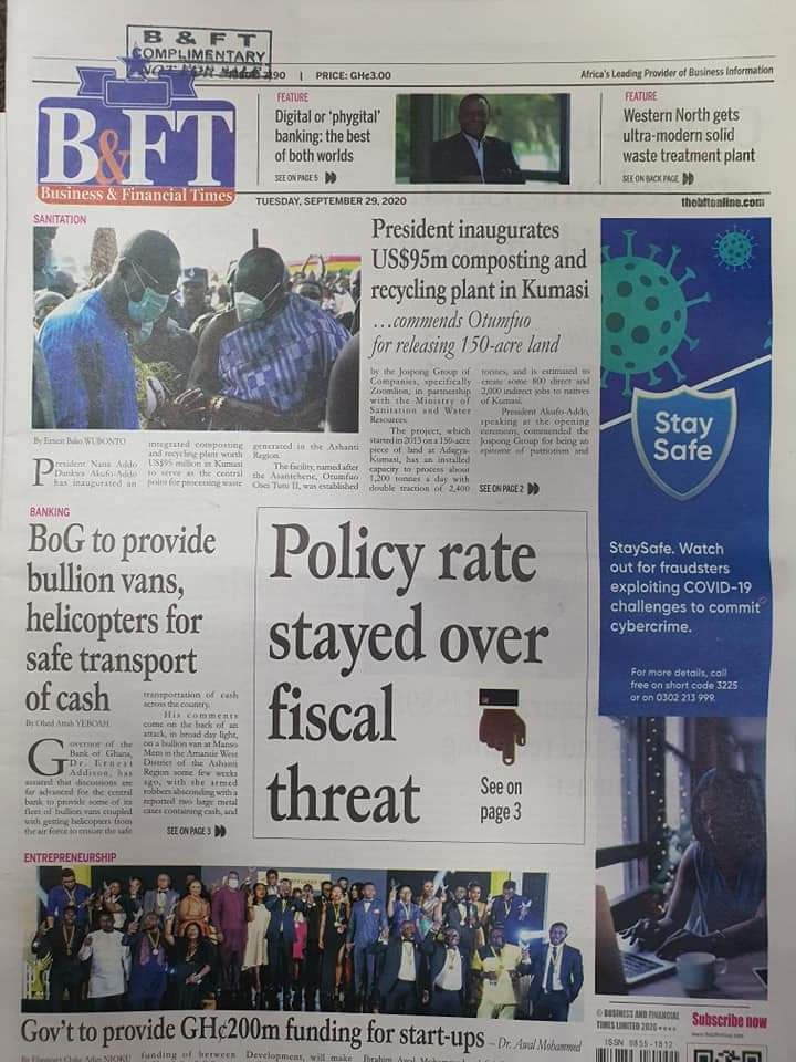 Today's front pages; Tuesday, September 29, 2020