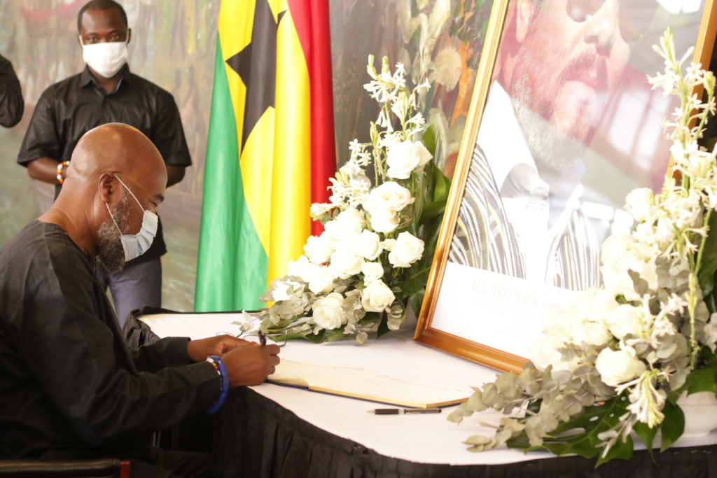Photos: Former president Mahama, others sign Rawlings' book of condolence