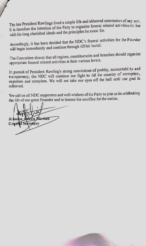 NDC to hold vigil in honour of Rawlings