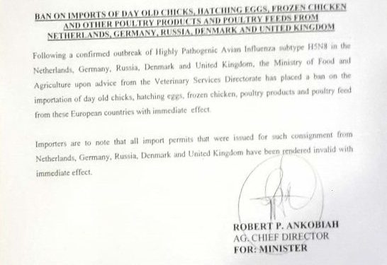 Government bans importation of day old chicks, poultry products from UK, other countries