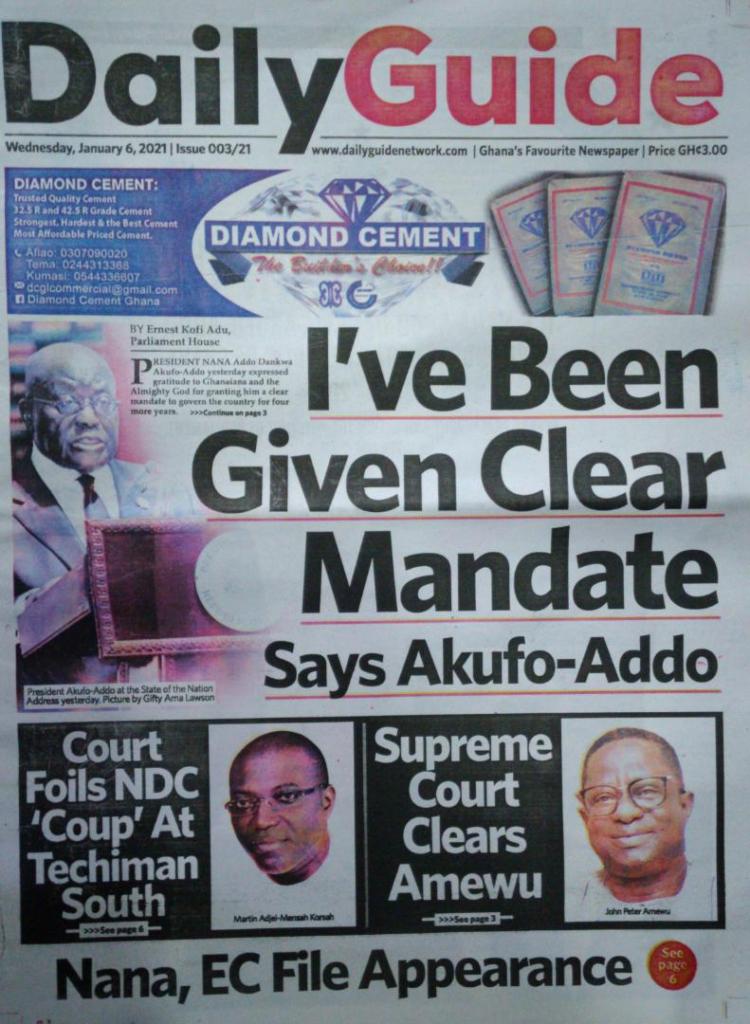 Newspaper headlines of Wednesday, January 6, 2021 14