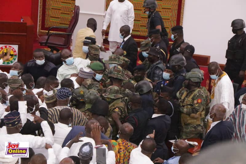 Military and police storm Parliament amid chaotic Speaker vote stalemate