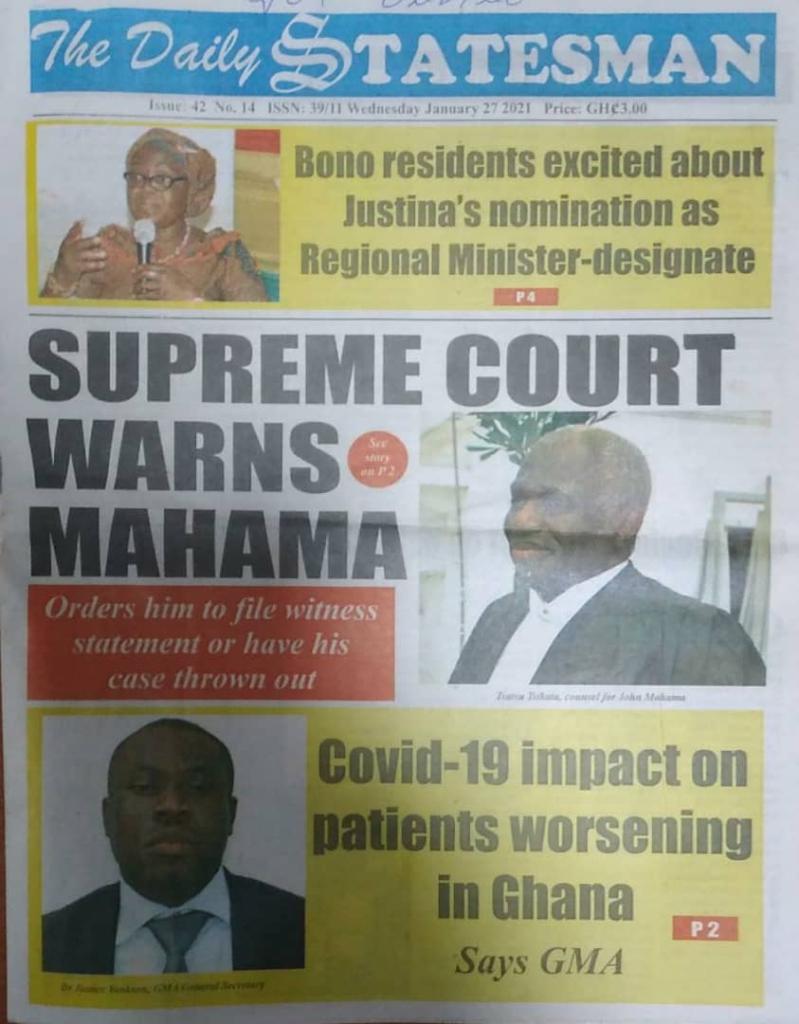 Newspaper headlines of Wednesday, January 27, 2021 4