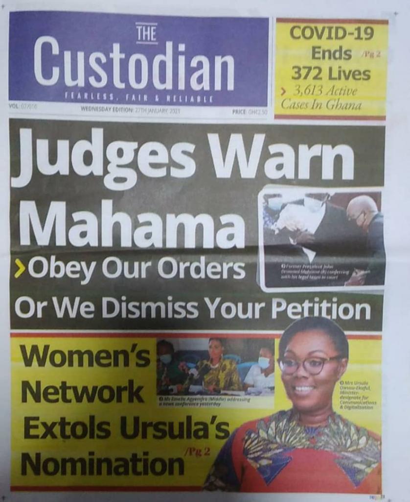 Newspaper headlines of Wednesday, January 27, 2021 3