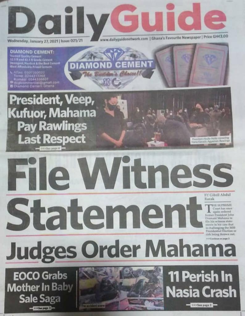 Newspaper headlines of Wednesday, January 27, 2021 2