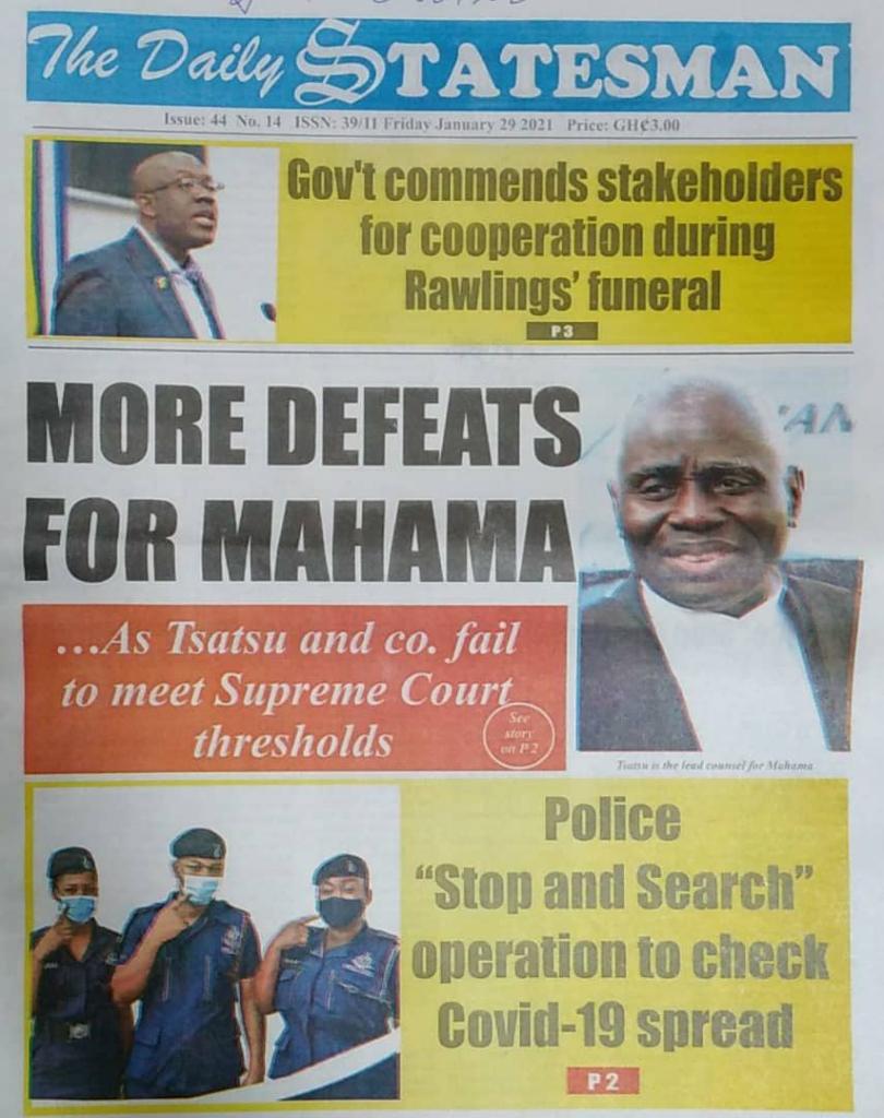 Newspaper headlines of Friday, January 29, 2021 3
