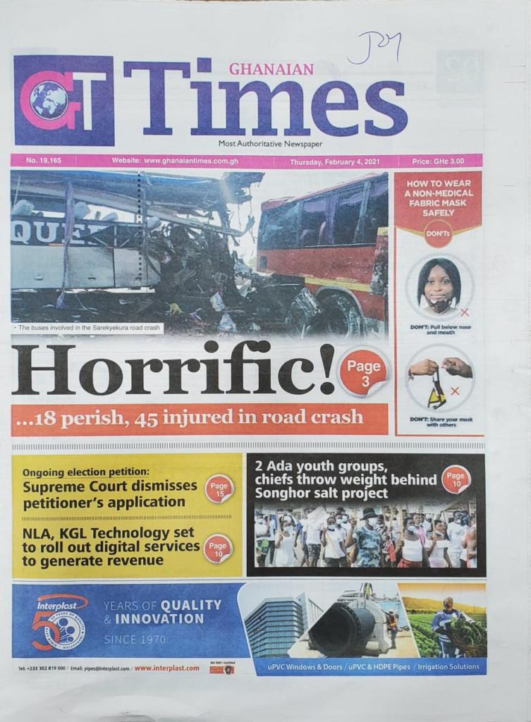 Newspaper headlines of Thursday, February 4, 2021 2