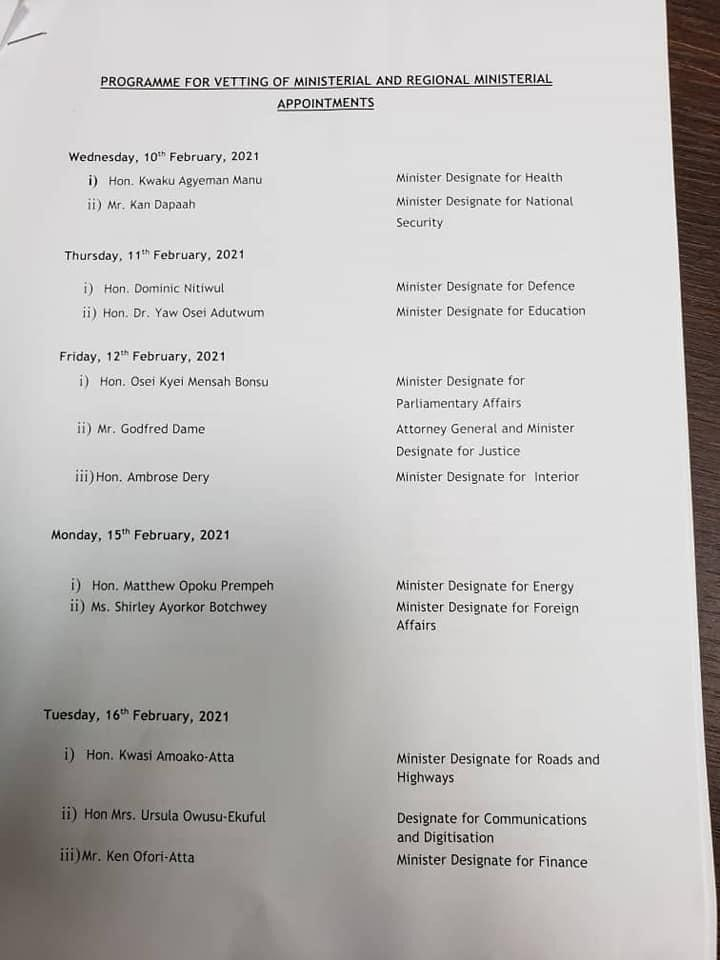 Parliament releases schedule for vetting of ministerial appointees