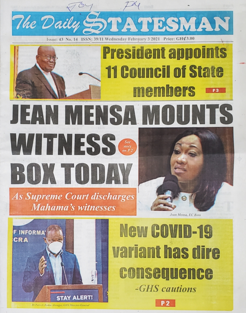 Today's frontpages: Wednesday, January 3, 2021