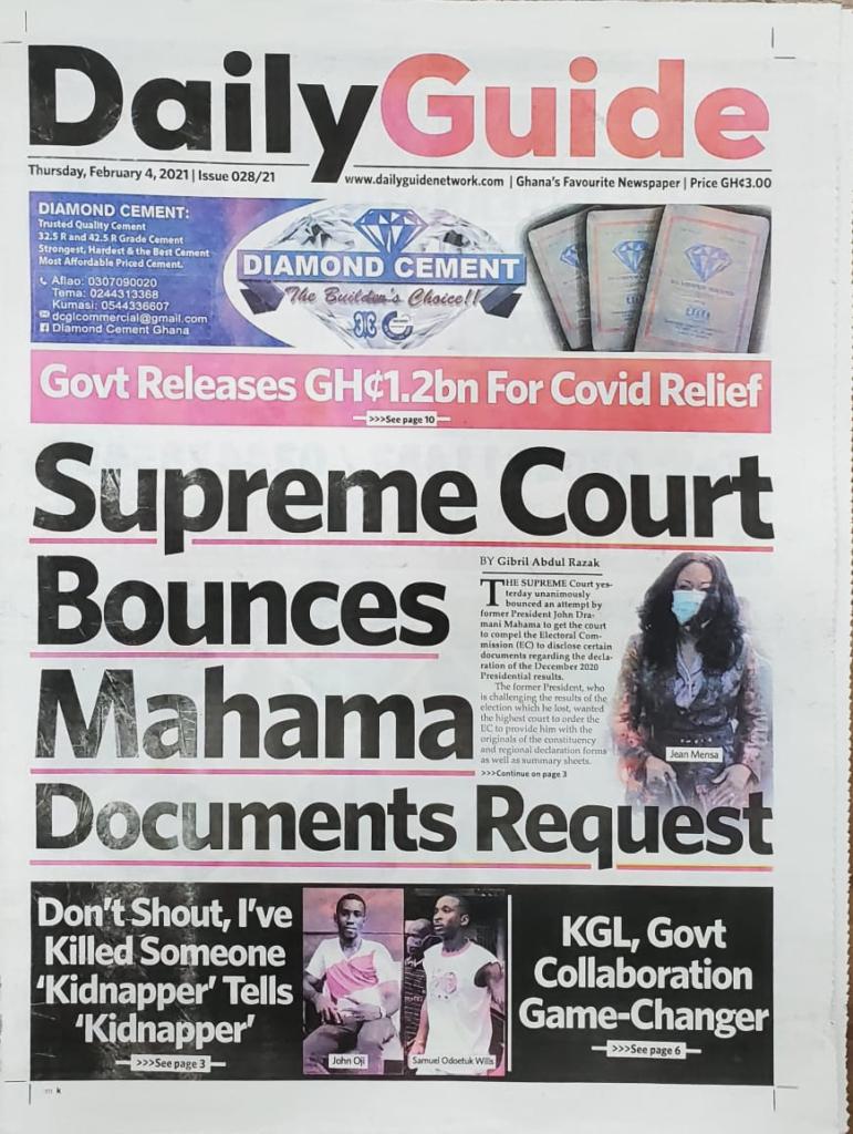 Newspaper headlines of Thursday, February 4, 2021 6