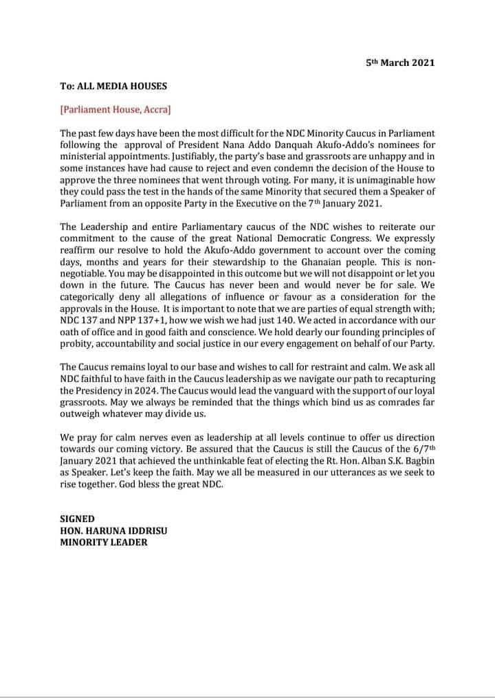 Haruna Iddrisu breaks silence over approval of Akufo-Addo's ministers 4