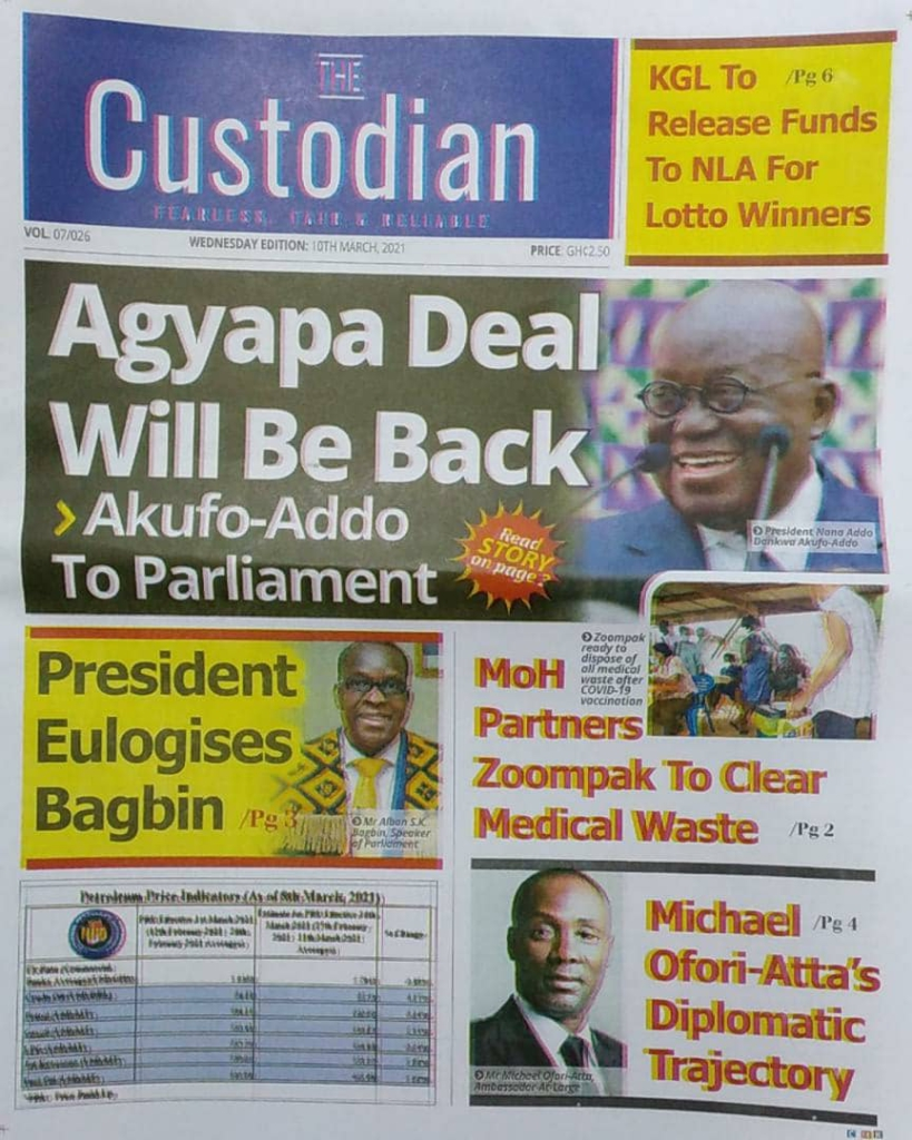 Newspaper Headlines of Wednesday, March 10, 2021 4