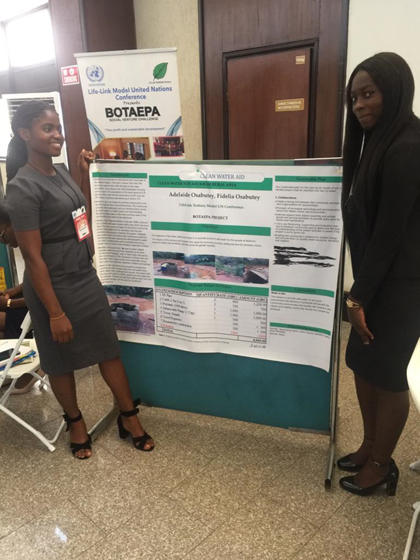 Adelaide Osabutey and Fidelia Osabutey pitching their project at Lifelink Model United Nations Conference in Ghana.