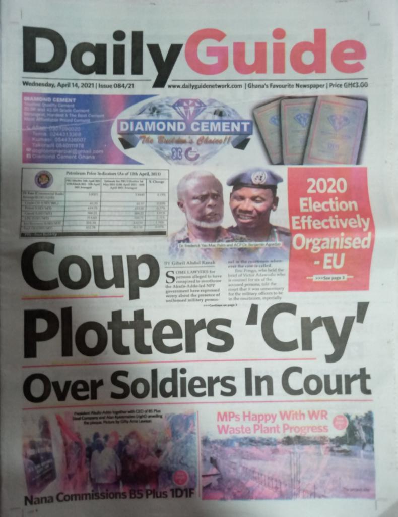 Newspaper headline; Tuesday, 14th April, 2021. 60