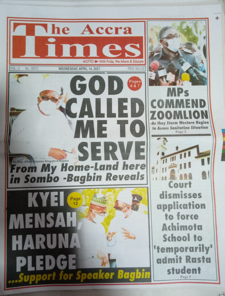Newspaper headline; Tuesday, 14th April, 2021. 61