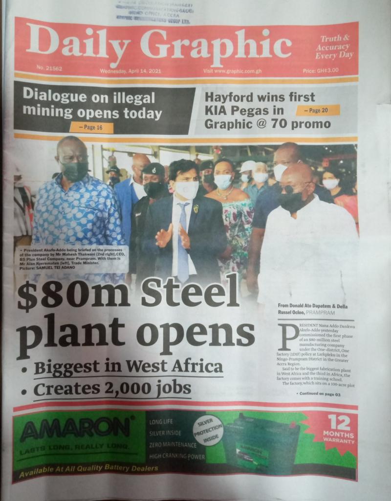 Newspaper headline; Tuesday, 14th April, 2021. 59