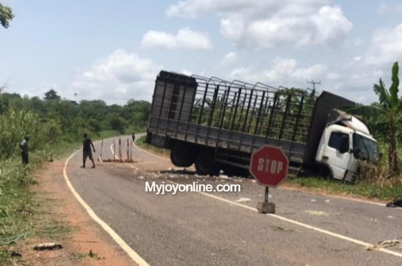 Danger looms on Ho-Accra highway as portion of road caves in near Tsito