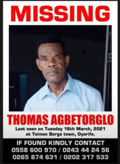 60-year-old, Thomas Agbetorglo missing - MyJoyOnline.com
