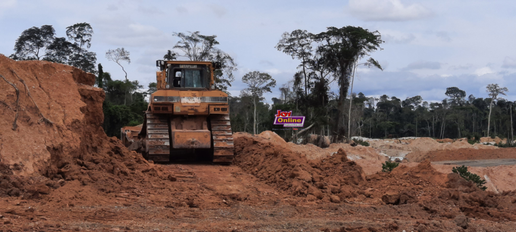 An equipment on site at Oda Forest Reserve www.myjoyonline.com