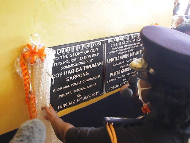 Central Region police encourage residents to volunteer information as it commissions police station built by Church of Pentecost
