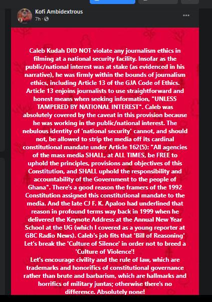 Caleb Kudah didn't breach Code of Ethics – GJA General Secretary
