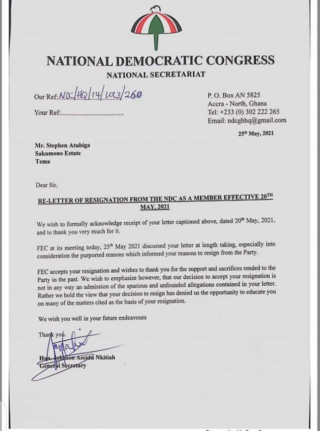 NDC accepts Atubiga's resignation from party