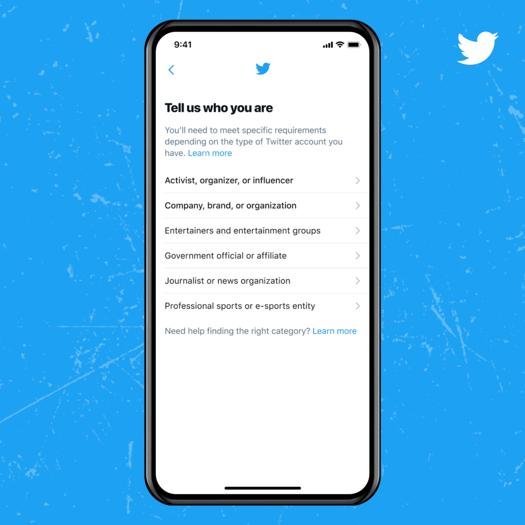 Twitter categorises users eligible for its new verification application process