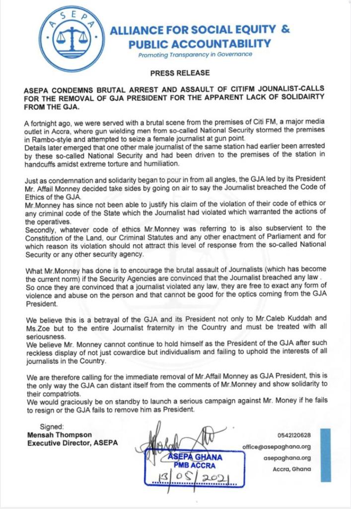 ASEPA calls for the removal of GJA President, Affail Monney
